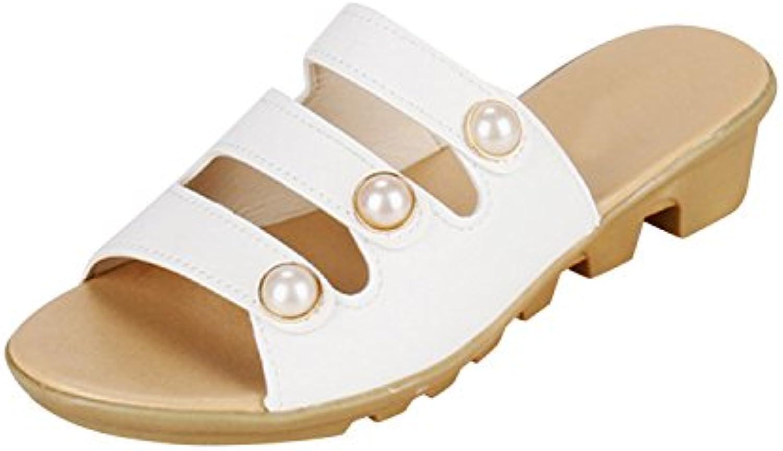 Frestepvie Damen Sommer Pantoffeln mit Perlen Outdoor/Indoor Hausschuh Flach Strand Sandalen Flip-Flops Elegantö