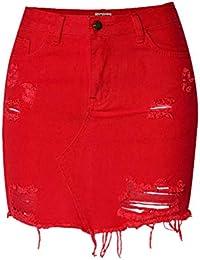 Suncaya Femmes Denim Shorts Mini Jupe Jeans Jupes Haute Taille Déchiré  Vintage ... 13343082860