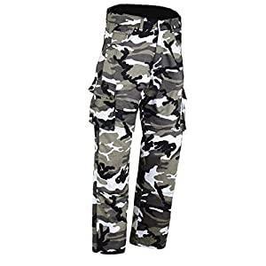 Bikers Gear Australia Kevlar Lined Protective Motorcycle Cargo Trouser Kevlar Jeans with Removable CE1621-1 Armour, Grey Camo, Size 38R
