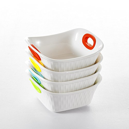 Malacasa, Série Bake, Lot de 4 Bols Assiettes Porcelaine Blanc Plat pour Barbecue Pique-nique