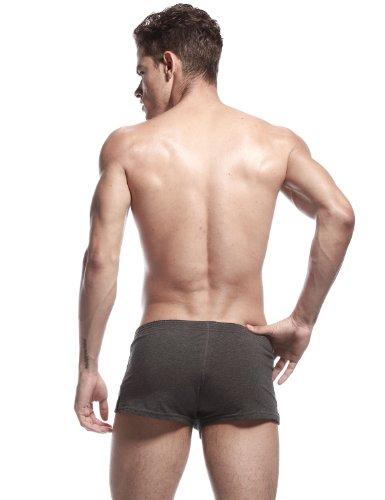 SEOBEAN Herren Low-Rise Sexy Boxer Brief Slip Trunks Unterwäsche Underwear 2378 Dunkelgrau
