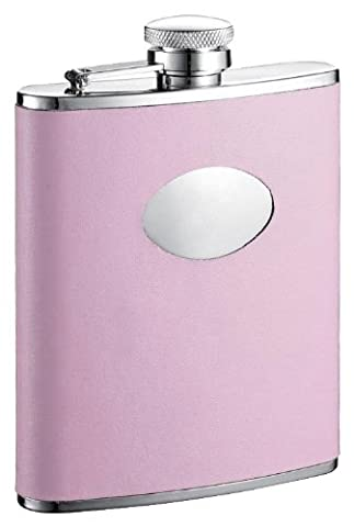 Visol Daydream Leather Stainless Steel Hip Flask, 6-Ounce, Pink by Visol