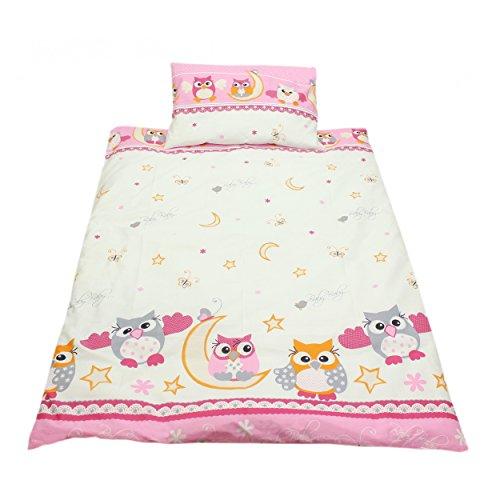 TupTam Kinderbettwäsche Set Baumwolle 2 teilig, Farbe: Eulen 2 Rosa, Größe: 135x100 cm
