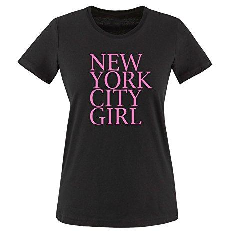 Comedy Shirts - New York City Girl - Damen T-Shirt - Schwarz/Rosa Gr. XXL -