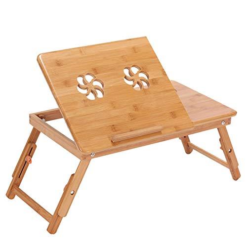 Fsan Bambus Laptoptisch fürs Bett Sofa höhenverstellbar faltbar Laptopständer Betttisch Frühstücktisch Notebookständer,Groß,YZJD1002 - Laptop Cooling-plattform