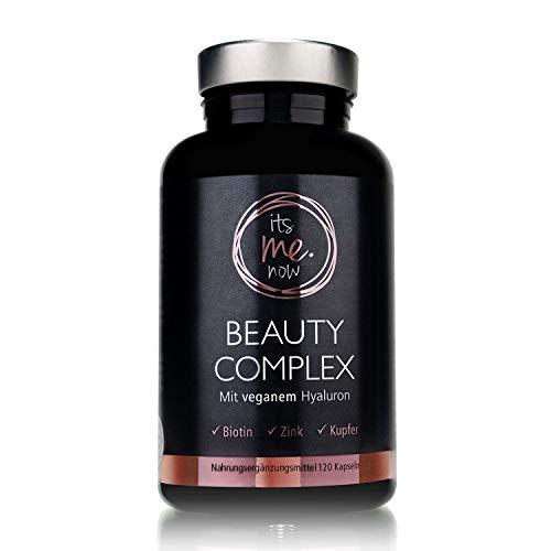 itsme.now Beauty Complex Hyaluronsäure Kapseln hochdosiert vegan 120 Stück - die Vitamin Kapseln für Haare und Nägel und Haut mit Biotin - Panthothensäure - Zink - Kupfer I Made in Germany