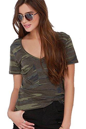 SZIVYSHI Women's Multicolor Camo Plunge Neck Short Sleeve T shirt (Short Uniform Womens Sleeve)