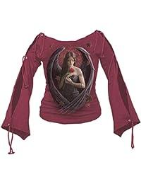Angel Rose Ouvert manches gothique Top Crimson