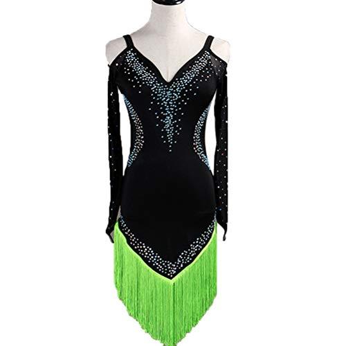 ddce3a038771 WQWLF Maniche Lunghe Senza Spalline Abiti da Concorso di Danza Latina per  Donne Gonna a Frange