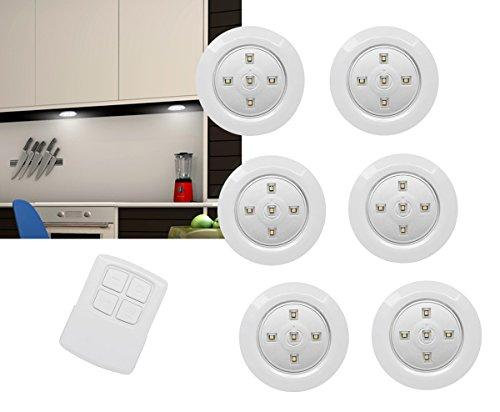 6er Set LED Unterbauleuchten Batteriebetrieb mit Fernbedienung und Touchfunktion Unterbau Leuchte Lampe Licht Nachtlicht für Küche, Keller, Treppe uvm - selbstklebend und anschraubbar