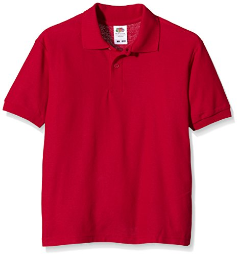 Fruit of the Loom Jungen T-Shirt Pique Polo, Rot, 3 Jahre
