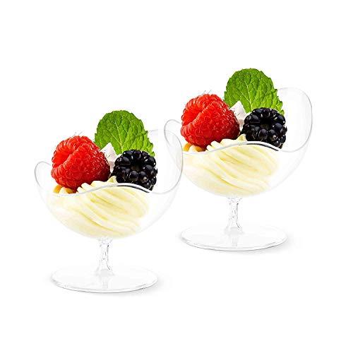 Mini-Dessertschalen von Ahippob, durchsichtig, Probierglas eleganter Becher, Kunststoff, Einwegschale, Partyschale, 12 Stück/Set (Frozen Teller Dessert)