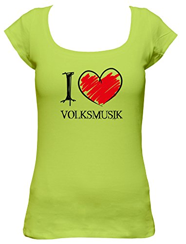 I love Volksmusik Fun Damen Boat Neck T-Shirt, Größe:L;Farbe:mintgrün