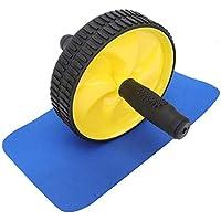 Qiilu Roller Desmontable Fitness Unisex Equipo de Ejercicio Abdominal Ejercicios básicos Entrenamiento(Amarillo)