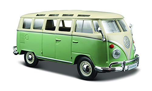 Maisto VW Bus Samba: Originalgetreues Modellauto VW T1 mit Vordert?r und Heckklappe zum ?ffnen, Ma?stab 1:25, Fertigmodell, 17 cm, Farblich Sortiert