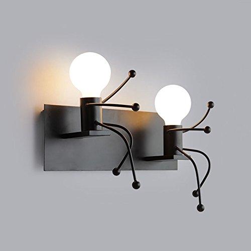 LAOHAO Lámpara de pared de diseño humanoide de hierro minimalista moderno, lámpara de pared Nordic...