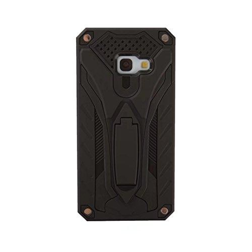 EKINHUI Case Cover Neue Hybrid-Rüstung schützende rückseitige Abdeckung Shockproof Doppelschicht PC + TPU rückseitige Abdeckung mit Kickstand für Samsung-Galaxie A3 2017 ( Color : Gold ) Black