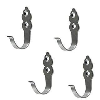 Aikesi 4pcs Hooks Stainless Steel Hook Single Wall Hook Bath Wall Hanger with Screws 2*5mm,Silver