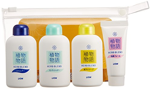 Lion HERB BLEND | Shampoo, Conditioner Set | Travel Set Shampoo 30ml, Conditioner 30ml, Body Soap 30ml, Face Wash 15g (japan import)