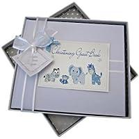 White Cotton Cards - Libro de visitas para bautizos, color azul