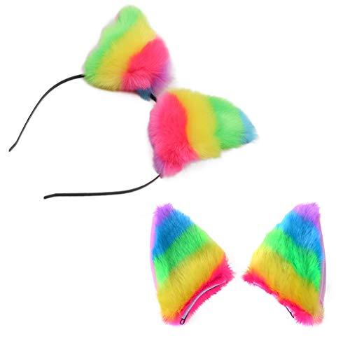 band Niedliche Fox Ohr Stirnband Haarspange Plüsch Bunt Katze Ohren Haarspange Valentinstag Haarschmuck Tiara ()