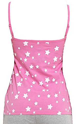 Octave - Canotta -  donna Pink With Star Print & Plain Blue