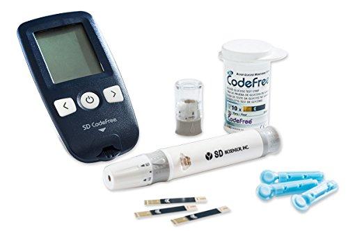 SD CodeFree Blutzuckermessgerät STARTERKIT mg/dL Vorteilspaket inkl. Teststreifen und Lanzetten