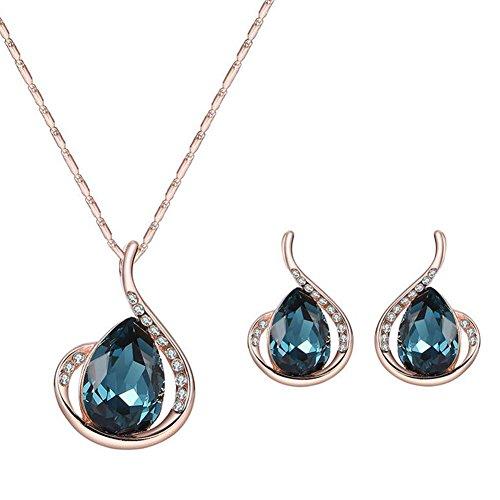Hosaire 2 Stück/Set Mode Blau Herzform Anhänger Damen Halskette Ohrringe Schmuck Zubehör Geburtstags Geschenk (Mode Ohrring Und Halskette Set)