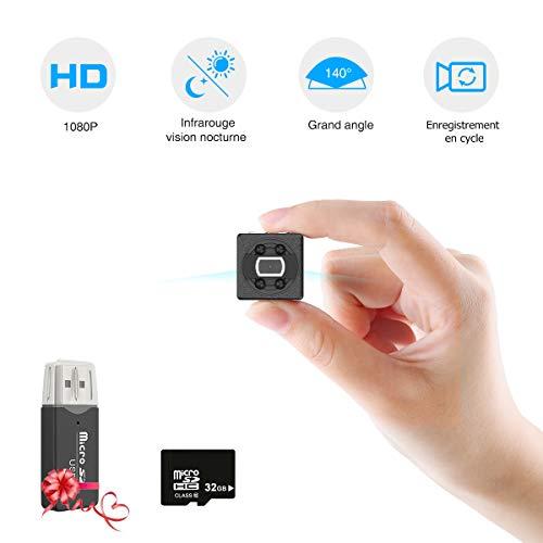 Cámaras Espía Ocultas con Tarjeta SD de 32GB, Mini Cámara Espía Compacta Cámara de Vigilancia Portátil 1080P HD con Visión Nocturna por Infrarrojos, Pequeñas Cámaras de Seguridad Interiores/Exteriores