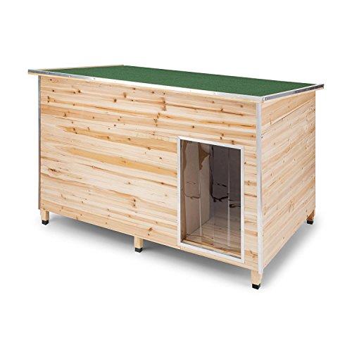 Oneconcept Schloss Wuff L • Caseta de protección para Perro • Paredes de Madera con Aislante • Cantos protegidos • Resistente Lluvia • Casa de Mascotas para Patio • 90 x120 x 90 cm • Pino