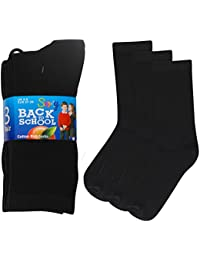 8b1e24d45860f 12 Pairs Boys/Girls Ankle Cotton Rich Plain School Socks Shoe Sizes 6-8