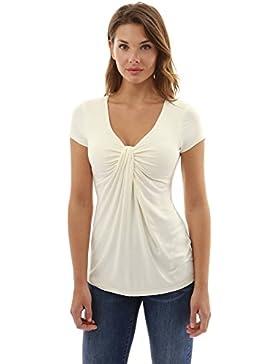 PattyBoutik Mujer camiseta de manga corta cuello v giro nudo delante
