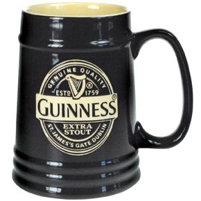 Guinness GNS2648 - Jarra de cerveza de cerámica, color negro