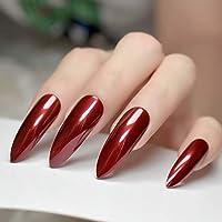 EchiQ Extra Long Sharp Stiletto False Nails Tips Claret-red Bordeaux Red Pointed Stilettos UV Gel Salon Party Press on Fake Nail Art