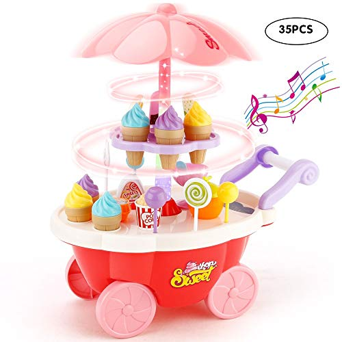 JoyGrow Ice Cream Cart 35PCS Pretend Play Food Dessert and Candy Trolley Set Toy with Music and Lighting Kids and Girls Toys