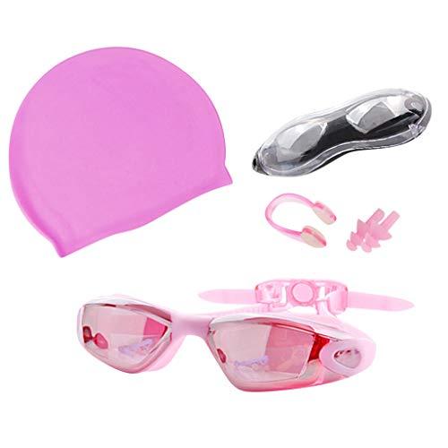 Feytuo Schwimmbrille Damen, Anti-Fog UV Protect, Schwimmbrille mit Hut und Ohrstöpsel Herren Mode Rosa
