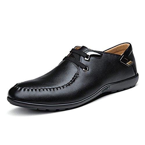 GRRONG Chaussures En Cuir Pour Hommes Confortable Loisirs Mode Noir Brun Black