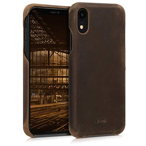 kalibri Apple iPhone XR Hülle - Leder Handy Cover Case - Hardcover Schutzhülle für Apple iPhone XR - Braun