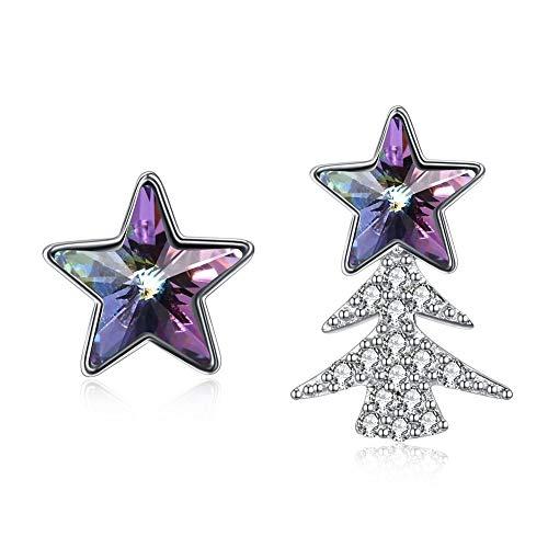 Liancie orecchini s925 argento natale albero di natale asimmetrico e orecchini a cinque punte in cristallo di stelle, b