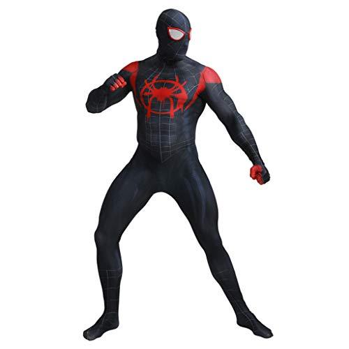 Anpassen Spandex Kostüm - Unisex Erwachsene Lycra Spiderman Cosplay Kostüme Spandex Zentai Halloween Anzug Erwachsenen 3D Digitaldruck Schwarz Spinnen Body All Inclusive Overalls,Schwarz,M
