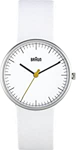 Braun Ladies Quartz 3 Hand Movement Watch with White Leather Strap