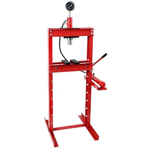 EBERTH 12T Presse hydraulique d'atelier avec Manomètre (635 mm Hauteur de Travail, Réglable 8 Niveaux, 425 mm Largeur de Travail)