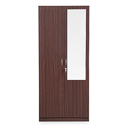 HomeTown Allen 2-Door Wardrobe with Mirror (Walnut)