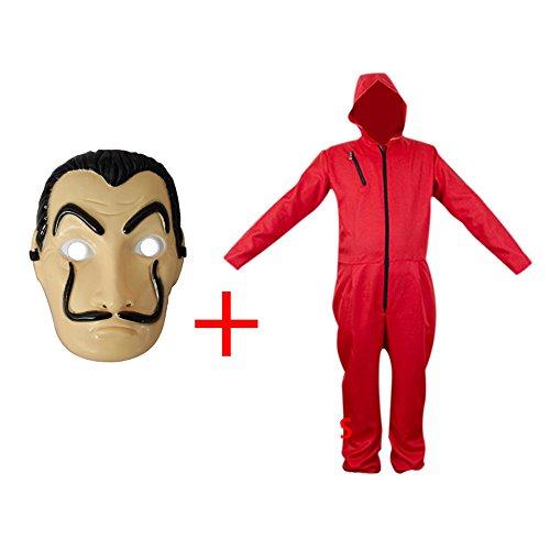 ape Maske Cosplay Bekleidung Pullover Kostüme Body Suit Rot Anzug Halloween Overall Jumpsuit (Overall+Maske L, Small) (Herren Halloween Maske)
