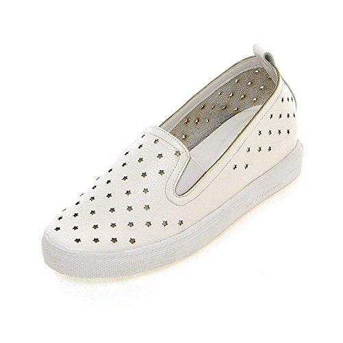 VogueZone009 Femme Matière Souple Tire Rond à Talon Bas Couleur Unie Chaussures Légeres Blanc