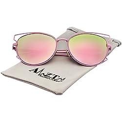 AMZTM Doppelt Metall Rahmen Verspiegelt Linsen Pilotenbrille Polarisiert Sonnenbrille Damen und Herren