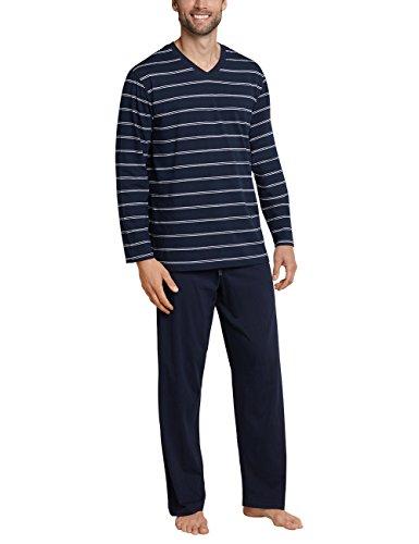 Schiesser Herren Zweiteiliger Schlafanzug Anzug Lang, Blau (Dunkelblau 803), Medium