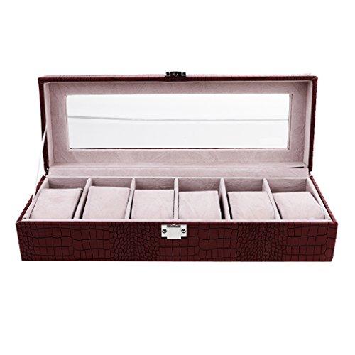 Sharplace-Uhren-Box-aus-PU-Leder-Uhrenkasten-mit-Glas-Deckel-Geschenk-fr-Frauen-Mnner