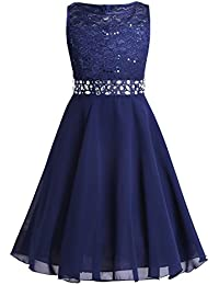 d8865a1a25347b Tiaobug Festlich Mädchen Kleid für Kinder Prinzessin Spitzen Kleider  Hochzeit Blumenmädchenkleid 92 104 116 128 140