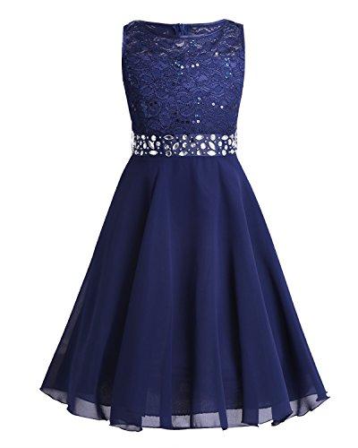 zessin Kleid Blumenmädchen Kleider Mädchen Kommunionkleid Brautjungfern Hochzeits Festlich Party Geburtstag Gr.98-176 Marineblau 98 ()